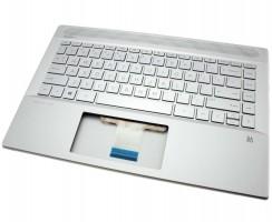 Tastatura HP Pavilion 14-CE argintie cu Palmrest argintiu iluminata backlit. Keyboard HP Pavilion 14-CE argintie cu Palmrest argintiu. Tastaturi laptop HP Pavilion 14-CE argintie cu Palmrest argintiu. Tastatura notebook HP Pavilion 14-CE argintie cu Palmrest argintiu