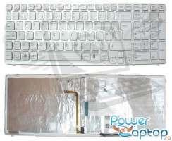 Tastatura Sony Vaio SVE15 alba iluminata backlit. Keyboard Sony Vaio SVE15 alba iluminata backlit. Tastaturi laptop Sony Vaio SVE15 alba iluminata backlit. Tastatura notebook Sony Vaio SVE15 alba iluminata backlit