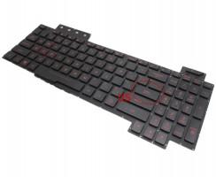 Tastatura Asus TUF Gaming FX504GD-ES51 neagra cu iluminare rosie pe marginea tastelor iluminata. Keyboard Asus TUF Gaming FX504GD-ES51. Tastaturi laptop Asus TUF Gaming FX504GD-ES51. Tastatura notebook Asus TUF Gaming FX504GD-ES51