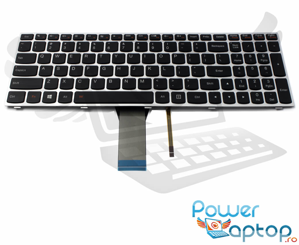 Tastatura Lenovo 25214767 rama gri iluminata backlit imagine powerlaptop.ro 2021
