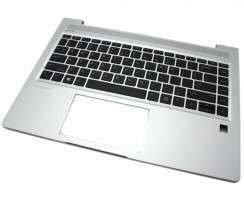 Tastatura HP ProBook 445 G6 Neagra cu Palmrest Argintiu iluminata backlit. Keyboard HP ProBook 445 G6 Neagra cu Palmrest Argintiu. Tastaturi laptop HP ProBook 445 G6 Neagra cu Palmrest Argintiu. Tastatura notebook HP ProBook 445 G6 Neagra cu Palmrest Argintiu
