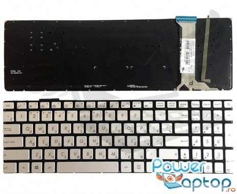Tastatura Asus  N551JQ gri iluminata. Keyboard Asus  N551JQ. Tastaturi laptop Asus  N551JQ. Tastatura notebook Asus  N551JQ