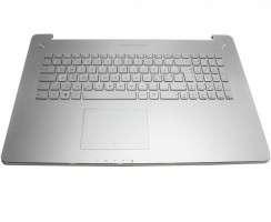 Tastatura Asus  N750J argintie cu Palmrest argintiu iluminata backlit. Keyboard Asus  N750J argintie cu Palmrest argintiu. Tastaturi laptop Asus  N750J argintie cu Palmrest argintiu. Tastatura notebook Asus  N750J argintie cu Palmrest argintiu