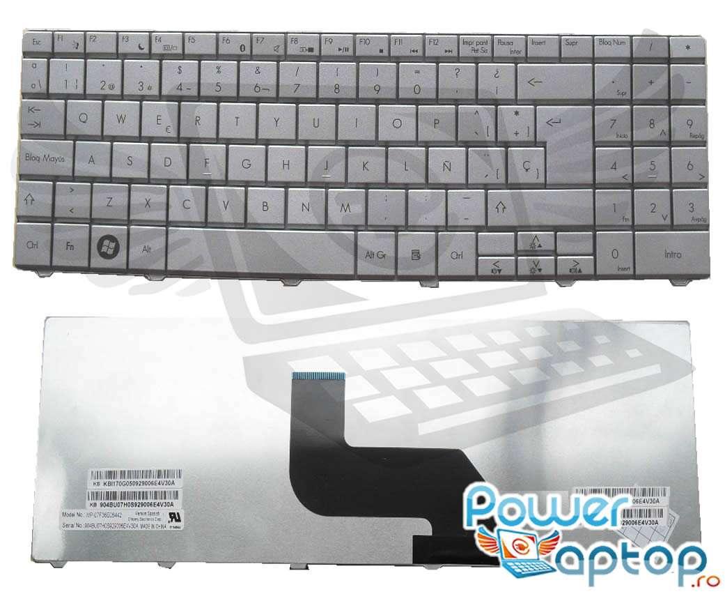 Tastatura Packard Bell EasyNote TJ76 argintie imagine powerlaptop.ro 2021