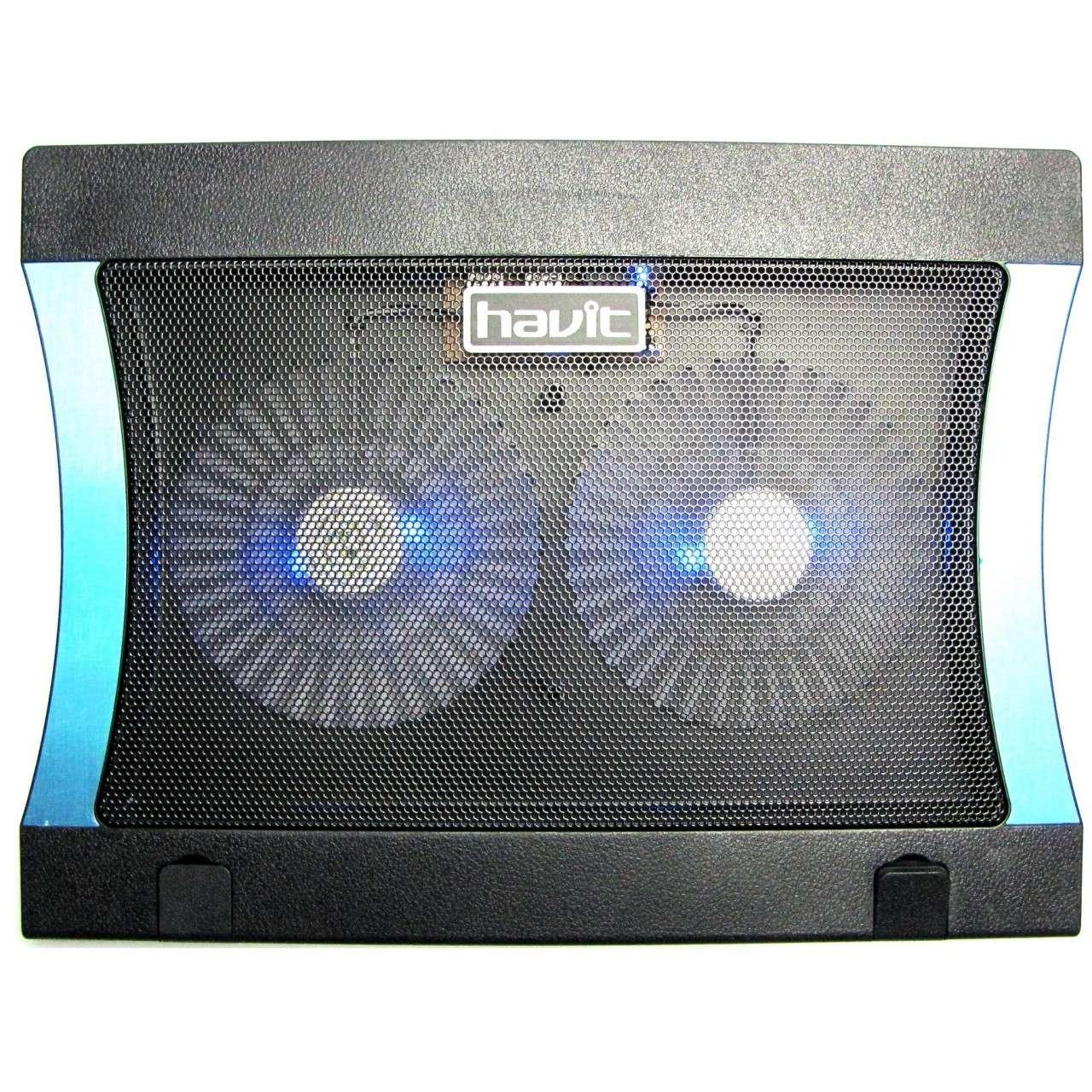 Cooler Stand Laptop Notebook Havit 2 Ventilatoare cu Nivel Reglabil Slot USB si LED imagine powerlaptop.ro 2021