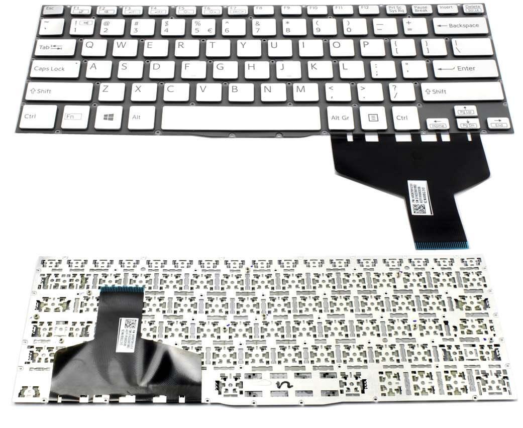 Tastatura argintie Sony Vaio SVF13N1S9C layout US fara rama enter mic imagine powerlaptop.ro 2021