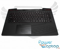 Tastatura Lenovo  Y50-70 neagra cu Palmrest negru iluminata backlit. Keyboard Lenovo  Y50-70 neagra cu Palmrest negru. Tastaturi laptop Lenovo  Y50-70 neagra cu Palmrest negru. Tastatura notebook Lenovo  Y50-70 neagra cu Palmrest negru