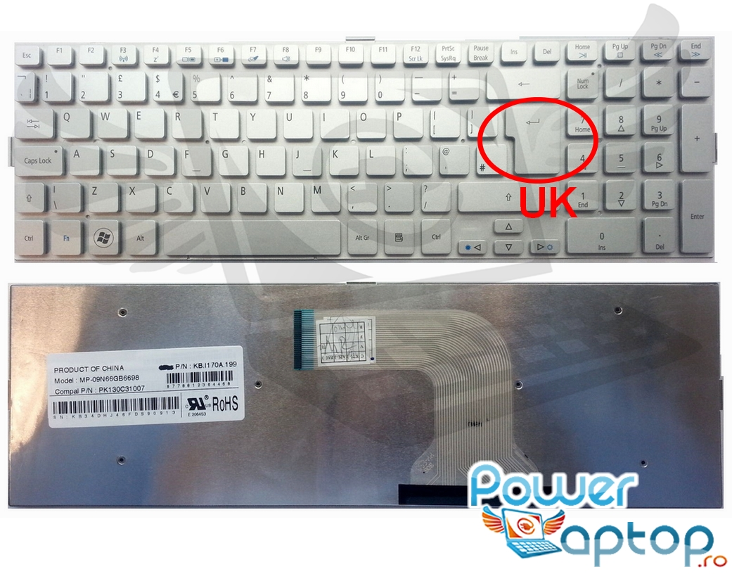 Tastatura Acer Ethos 5943 layout UK fara rama enter mare imagine