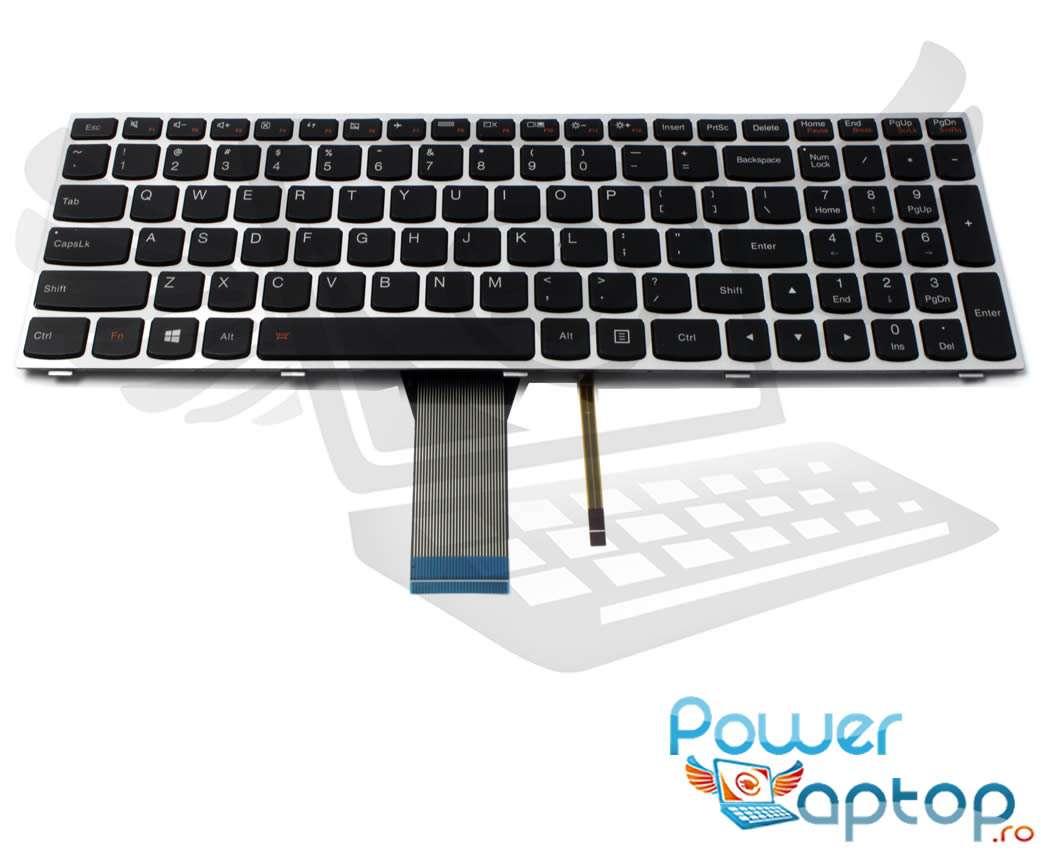 Tastatura Lenovo G70 70 rama gri iluminata backlit imagine powerlaptop.ro 2021