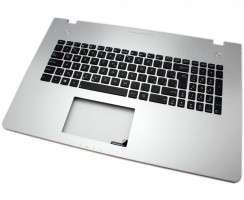 Tastatura Asus  N76VB neagra cu Palmrest argintiu iluminata backlit. Keyboard Asus  N76VB neagra cu Palmrest argintiu. Tastaturi laptop Asus  N76VB neagra cu Palmrest argintiu. Tastatura notebook Asus  N76VB neagra cu Palmrest argintiu