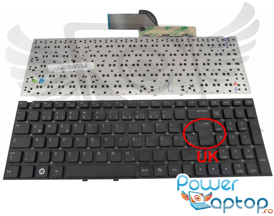 Tastatura Samsung NP300E5X layout UK fara rama enter mare imagine powerlaptop.ro 2021