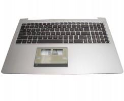 Tastatura Asus 0K200-00080000 neagra cu Palmrest argintiu iluminata backlit. Keyboard Asus 0K200-00080000 neagra cu Palmrest argintiu. Tastaturi laptop Asus 0K200-00080000 neagra cu Palmrest argintiu. Tastatura notebook Asus 0K200-00080000 neagra cu Palmrest argintiu