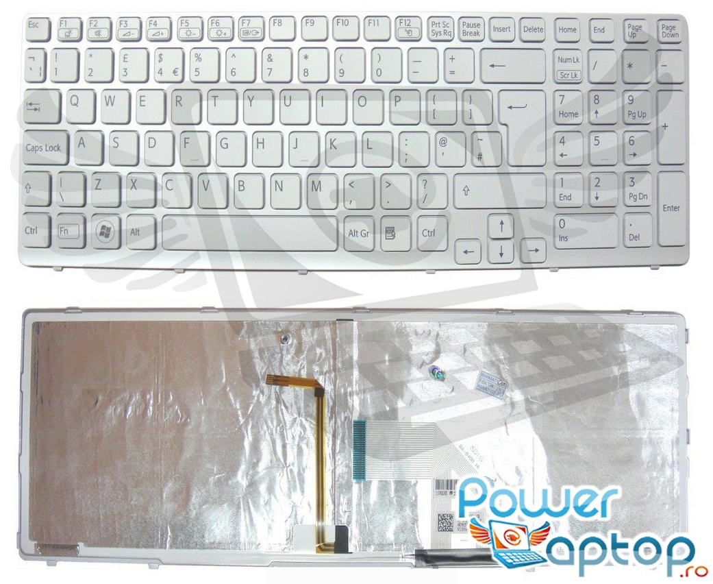 Tastatura Sony Vaio SVE15129CAB alba iluminata backlit imagine powerlaptop.ro 2021