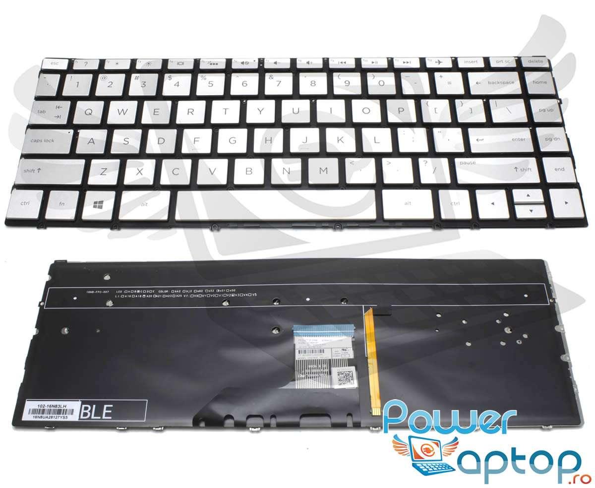 Tastatura HP Spectre x360 13AC075NR argintie iluminata backlit imagine powerlaptop.ro 2021