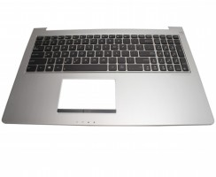 Tastatura Asus UX51VZ neagra cu Palmrest argintiu iluminata backlit. Keyboard Asus UX51VZ neagra cu Palmrest argintiu. Tastaturi laptop Asus UX51VZ neagra cu Palmrest argintiu. Tastatura notebook Asus UX51VZ neagra cu Palmrest argintiu