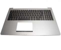 Tastatura Asus 0KN0-N42us23 neagra cu Palmrest argintiu iluminata backlit. Keyboard Asus 0KN0-N42us23 neagra cu Palmrest argintiu. Tastaturi laptop Asus 0KN0-N42us23 neagra cu Palmrest argintiu. Tastatura notebook Asus 0KN0-N42us23 neagra cu Palmrest argintiu