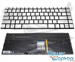 Tastatura HP Spectre x360 13AC063DX argintie iluminata backlit. Keyboard HP Spectre x360 13AC063DX argintie. Tastaturi laptop HP Spectre x360 13AC063DX argintie. Tastatura notebook HP Spectre x360 13AC063DX argintie