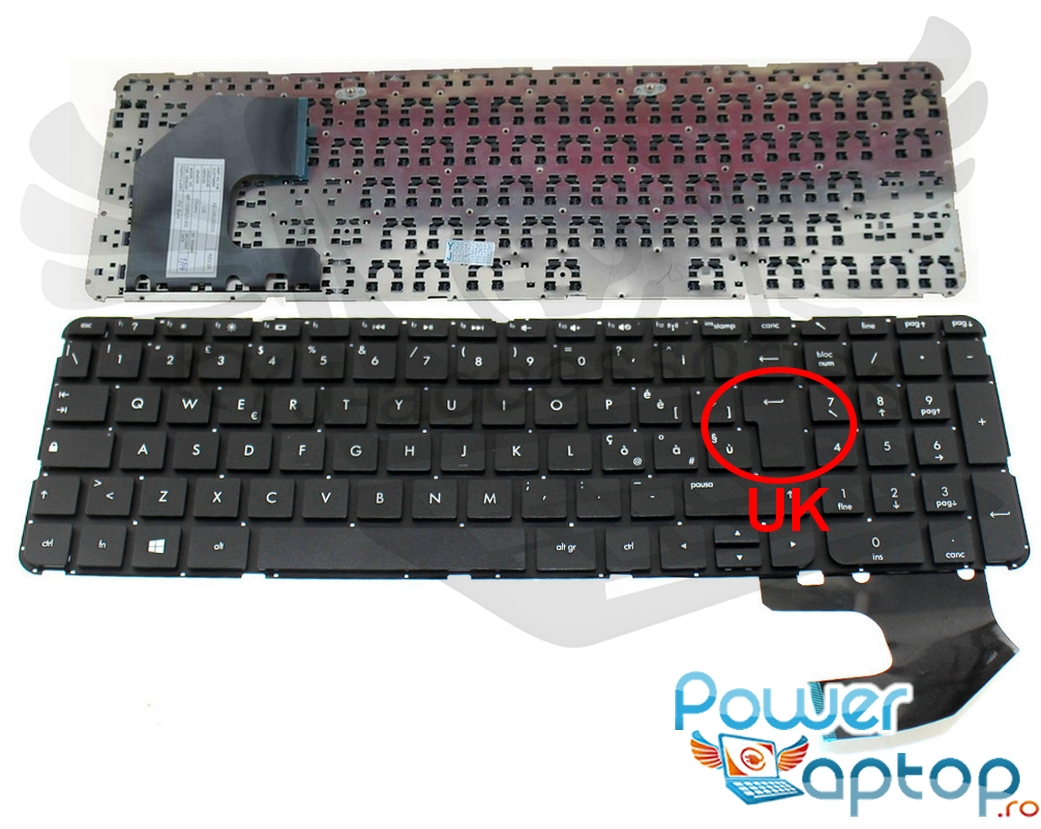 Tastatura HP Pavilion 15 b080 layout UK fara rama enter mare imagine powerlaptop.ro 2021