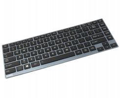 Tastatura Toshiba  AEBU6U00010 US Rama albastra iluminata backlit. Keyboard Toshiba  AEBU6U00010 US Rama albastra. Tastaturi laptop Toshiba  AEBU6U00010 US Rama albastra. Tastatura notebook Toshiba  AEBU6U00010 US Rama albastra