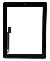 Digitizer Touchscreen Apple iPad 3 A1430 A1416 cu buton home si adeziv Negru. Geam Sticla Tableta Apple iPad 3 A1430 A1416 cu buton home si adeziv Negru