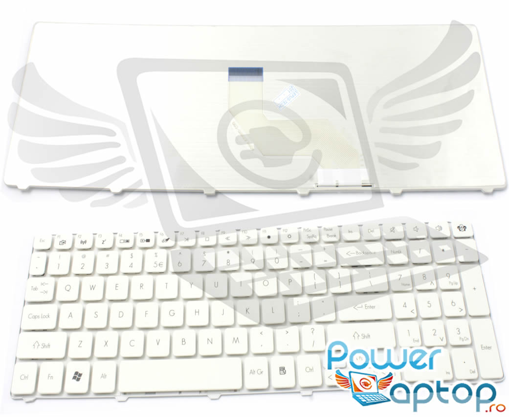 Tastatura Packard Bell PEW91 alba imagine powerlaptop.ro 2021