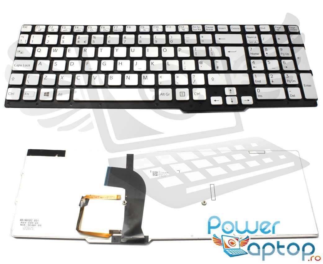 Tastatura argintie Sony Vaio SVS1511S1C iluminata layout UK fara rama enter mare imagine powerlaptop.ro 2021
