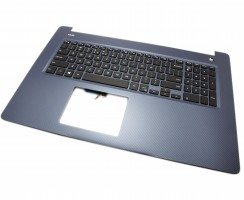Tastatura Dell D56JV Neagra cu Palmrest Albastru iluminata backlit. Keyboard Dell D56JV Neagra cu Palmrest Albastru. Tastaturi laptop Dell D56JV Neagra cu Palmrest Albastru. Tastatura notebook Dell D56JV Neagra cu Palmrest Albastru