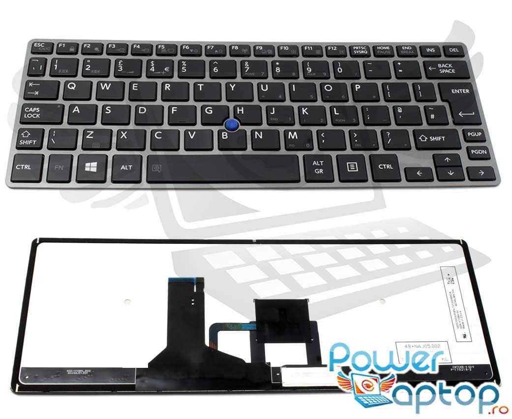Tastatura Toshiba Portege Z30 A 13W Rama gri imagine powerlaptop.ro 2021