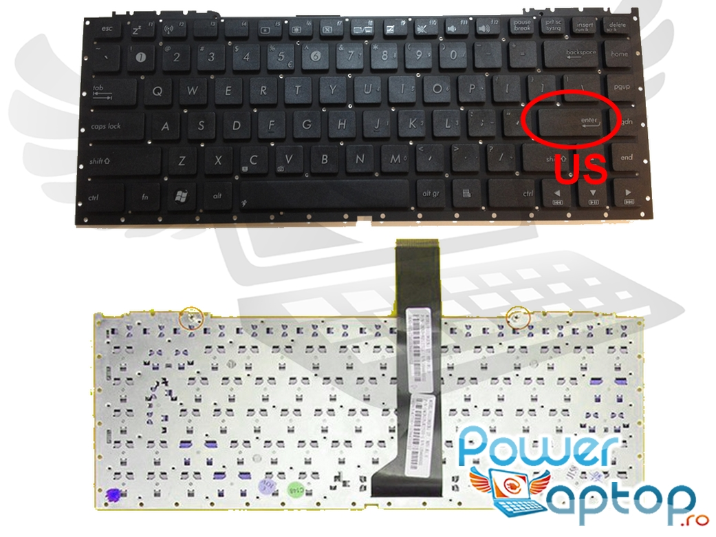 Tastatura Asus U43JC layout US fara rama enter mic imagine
