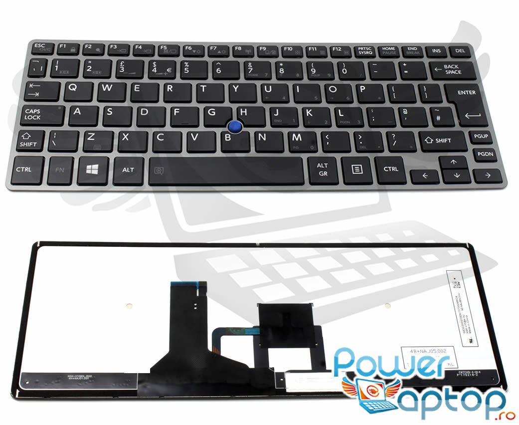 Tastatura Toshiba Portege Z30 A 10P Rama gri imagine powerlaptop.ro 2021