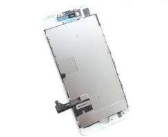 Display iPhone SE 2020 A2296 Complet, cu tablita metalica pe spate, conector pentru amprenta si ornamente camera si casca.