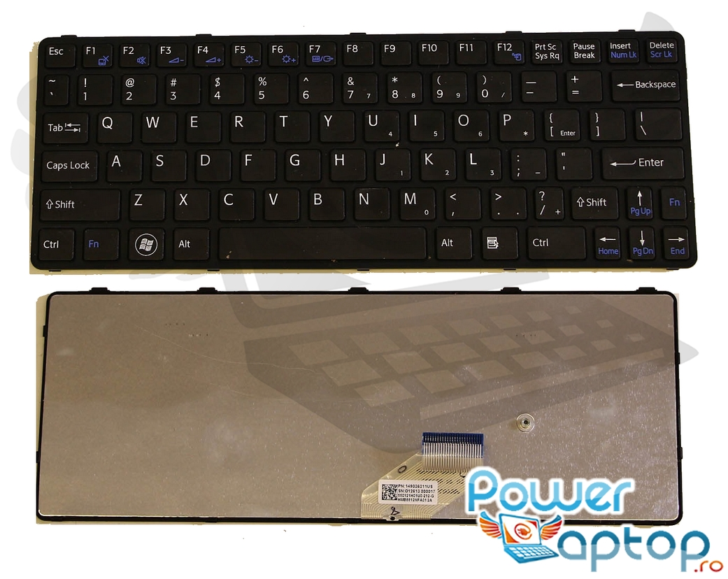 Tastatura Sony Vaio SVE11125CH neagra imagine powerlaptop.ro 2021