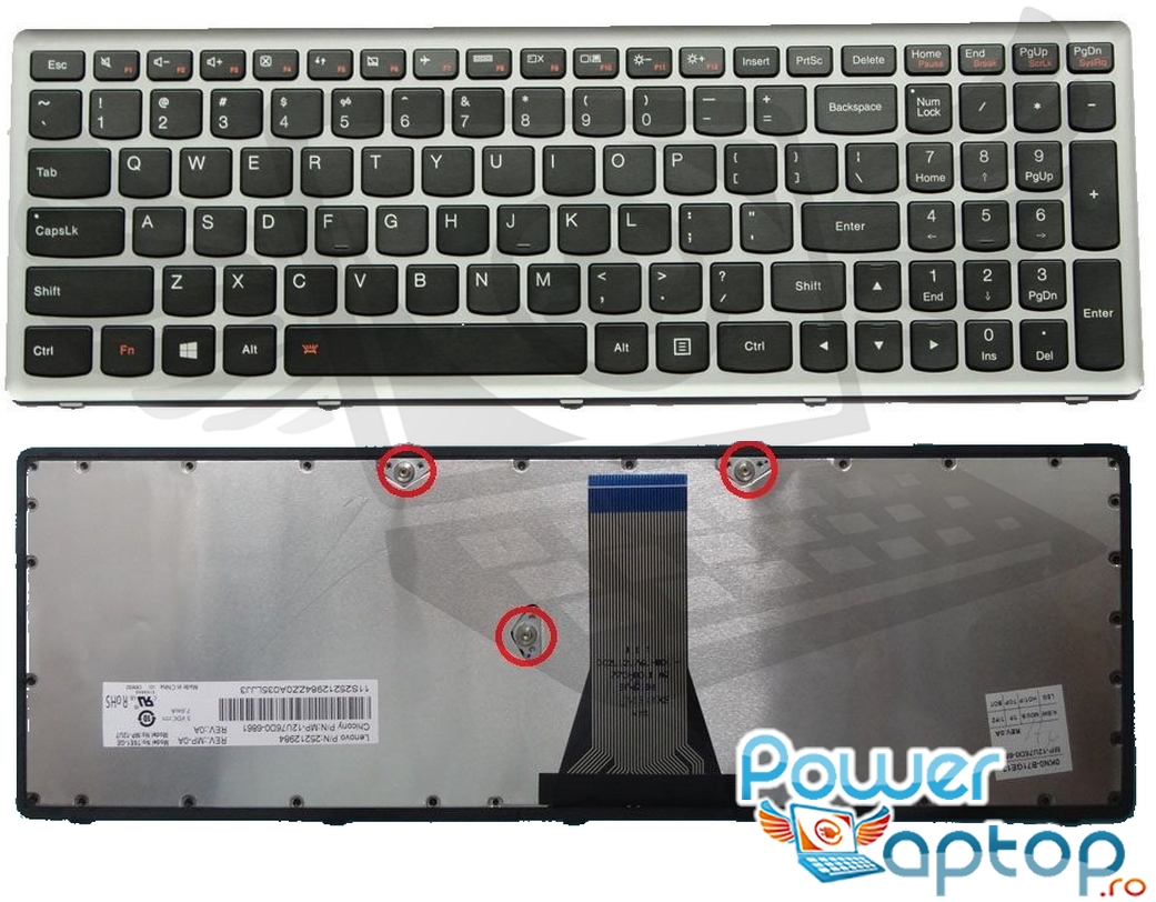 Tastatura Lenovo 25213009 Rama gri imagine powerlaptop.ro 2021