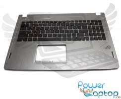 Tastatura Asus ROG GL502VMK neagra cu Palmrest argintiu iluminata backlit. Keyboard Asus ROG GL502VMK neagra cu Palmrest argintiu. Tastaturi laptop Asus ROG GL502VMK neagra cu Palmrest argintiu. Tastatura notebook Asus ROG GL502VMK neagra cu Palmrest argintiu