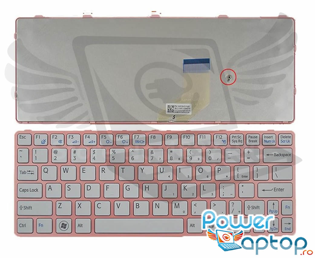 Tastatura Sony Vaio SVE11125CH Rama roz imagine powerlaptop.ro 2021