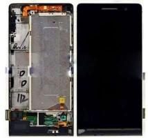 Ansamblu Display LCD + Touchscreen Huawei Ascend P6 cu rama negru ORIGINAL. Ecran + Digitizer Huawei Ascend P6 cu rama negru ORIGINAL