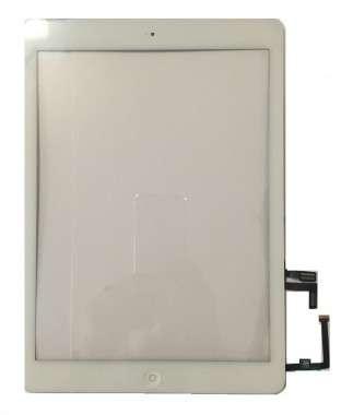Digitizer Touchscreen Apple iPad Air A1475 A1474 cu buton home si adeziv Alb. Geam Sticla Tableta Apple iPad Air A1475 A1474 cu buton home si adeziv Alb
