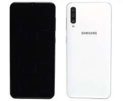 Pachet Recarosare Samsung Galaxy A50 A505 White Alb Original Display, Rama display, Capac spate, Baterie, Modul incarcare