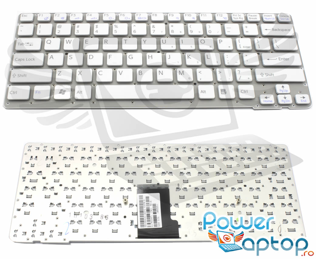 Tastatura alba Sony Vaio VPC EA36FX layout US fara rama enter mic imagine powerlaptop.ro 2021