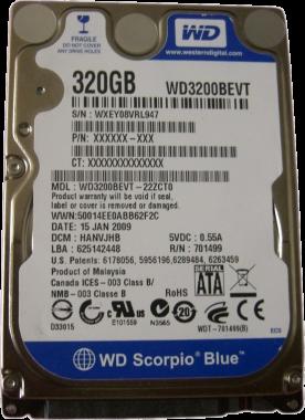 Hard Disk laptop Western Digital WD3200BEVT 320GB 5400RPM Scorpio Blue