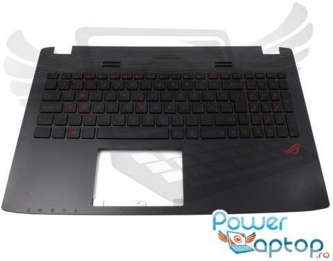 Tastatura Asus  GL552VW cu Palmrest negru iluminata backlit. Keyboard Asus  GL552VW cu Palmrest negru. Tastaturi laptop Asus  GL552VW cu Palmrest negru. Tastatura notebook Asus  GL552VW cu Palmrest negru