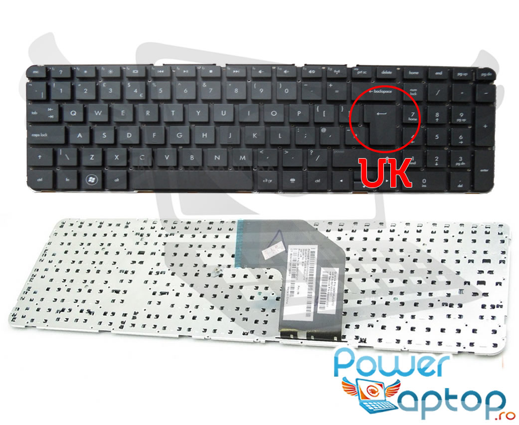 Tastatura HP 699498-131 layout UK fara rama enter mare imagine powerlaptop.ro 2021