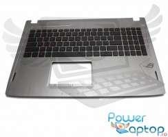 Tastatura Asus  90NB0DR5-R31UI0 neagra cu Palmrest argintiu iluminata backlit. Keyboard Asus  90NB0DR5-R31UI0 neagra cu Palmrest argintiu. Tastaturi laptop Asus  90NB0DR5-R31UI0 neagra cu Palmrest argintiu. Tastatura notebook Asus  90NB0DR5-R31UI0 neagra cu Palmrest argintiu