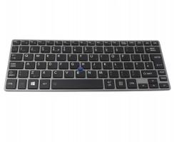 Tastatura Toshiba Portege Z30-A-1FQ Rama gri iluminata backlit. Keyboard Toshiba Portege Z30-A-1FQ Rama gri. Tastaturi laptop Toshiba Portege Z30-A-1FQ Rama gri. Tastatura notebook Toshiba Portege Z30-A-1FQ Rama gri