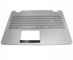 Tastatura Asus GL551JM argintie cu Palmrest argintiu iluminata backlit. Keyboard Asus GL551JM argintie cu Palmrest argintiu. Tastaturi laptop Asus GL551JM argintie cu Palmrest argintiu. Tastatura notebook Asus GL551JM argintie cu Palmrest argintiu