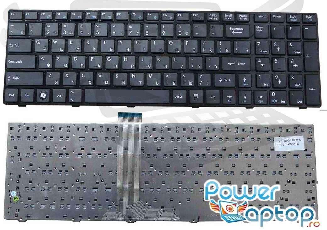 Tastatura MSI MS 168A layout US fara rama enter mic imagine powerlaptop.ro 2021