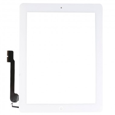 Digitizer Touchscreen Apple iPad 4 A160 cu buton home si adeziv Alb. Geam Sticla Tableta Apple iPad 4 A1460 cu buton home si adeziv Alb