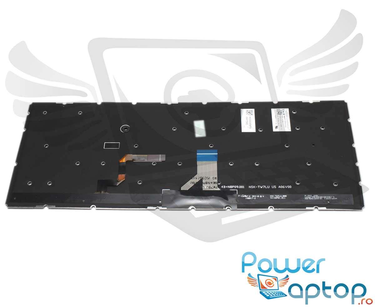 Tastatura Toshiba H00095300 iluminata layout US fara rama enter mic imagine powerlaptop.ro 2021