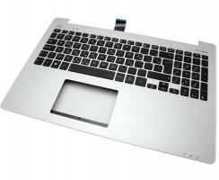 Tastatura Asus  R553LN neagra cu Palmrest argintiu. Keyboard Asus  R553LN neagra cu Palmrest argintiu. Tastaturi laptop Asus  R553LN neagra cu Palmrest argintiu. Tastatura notebook Asus  R553LN neagra cu Palmrest argintiu