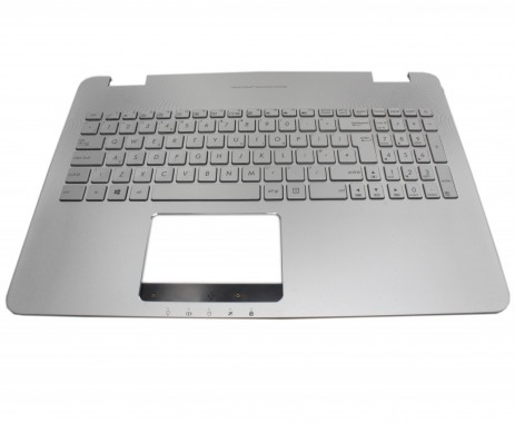 Tastatura Asus G58VW argintie cu Palmrest argintiu iluminata backlit. Keyboard Asus G58VW argintie cu Palmrest argintiu. Tastaturi laptop Asus G58VW argintie cu Palmrest argintiu. Tastatura notebook Asus G58VW argintie cu Palmrest argintiu